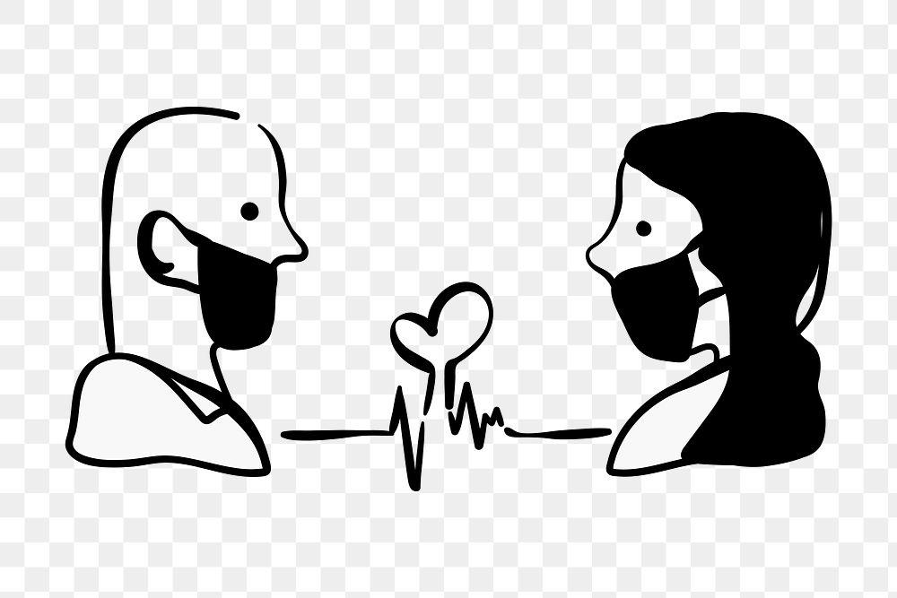 Couple in medical masks transparent png