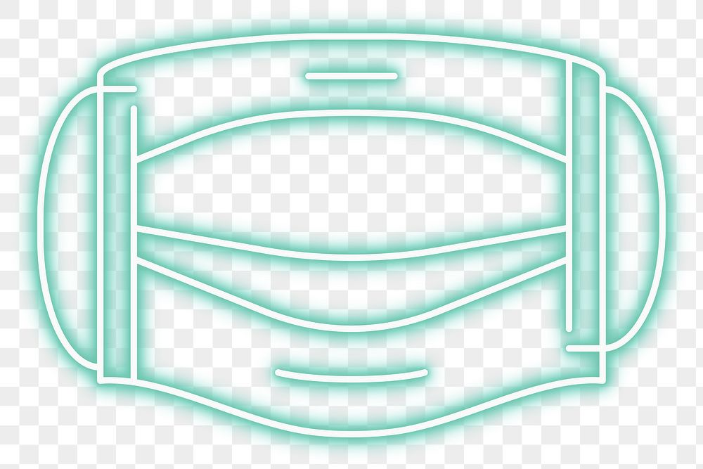 Green surgical mask neon sign transparent png