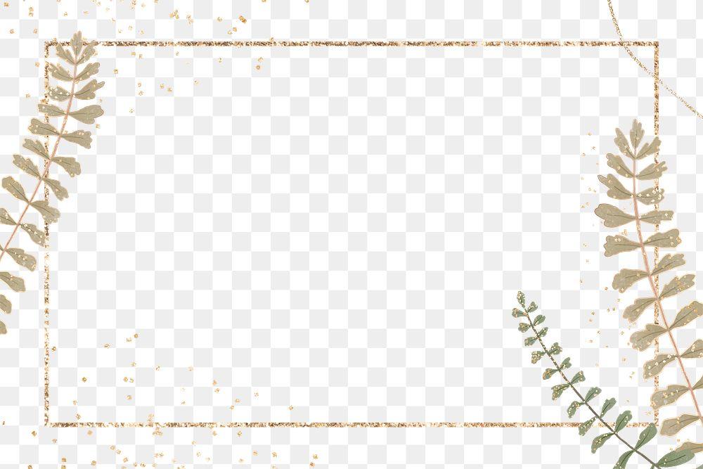 Gold rectangle leaf png frame design