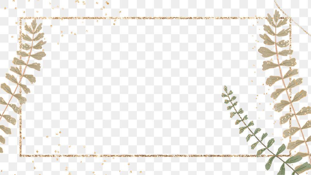 Golden frame with leaf png frame design