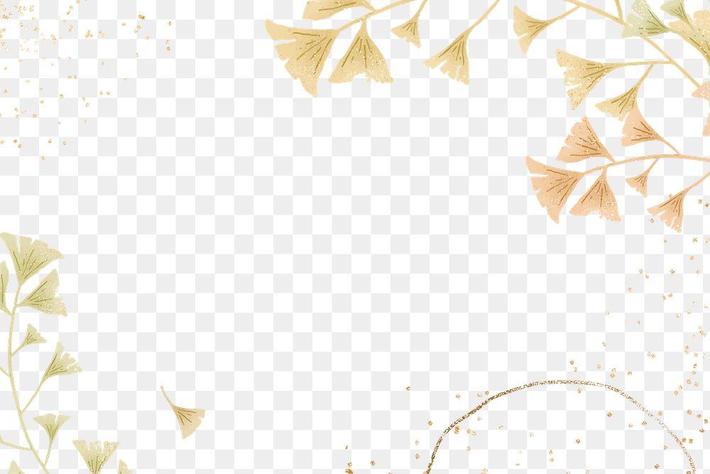 Ginkgo leaf glitter frame png
