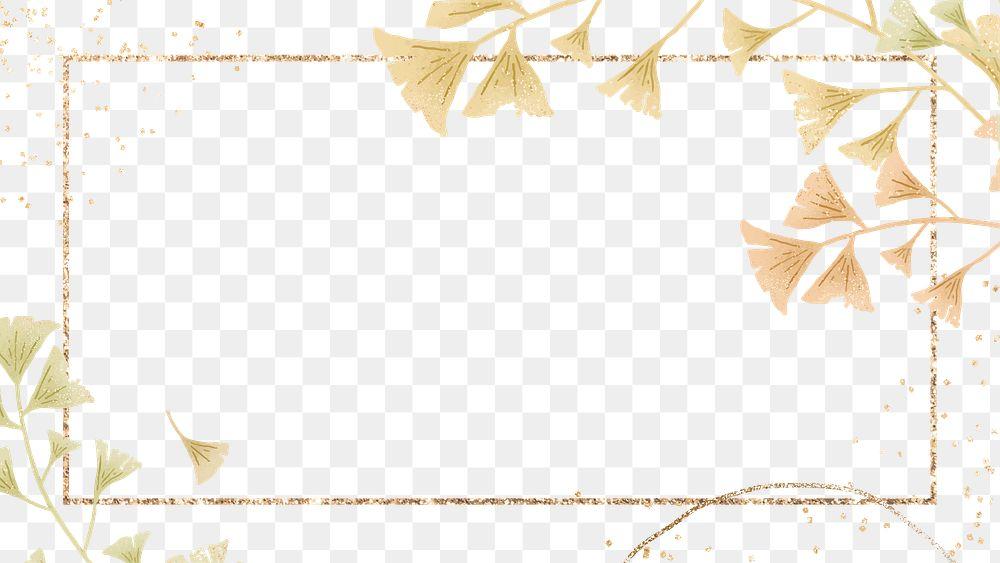 Ginkgo leaf png on gold frame