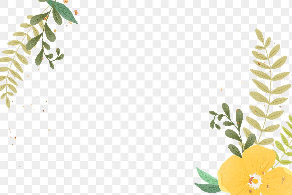 Gold glitter flower png frame design