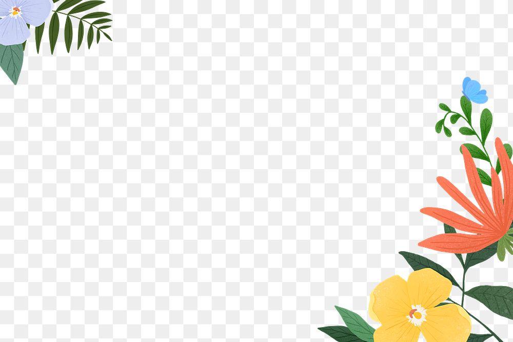 Png tropical flower frame design