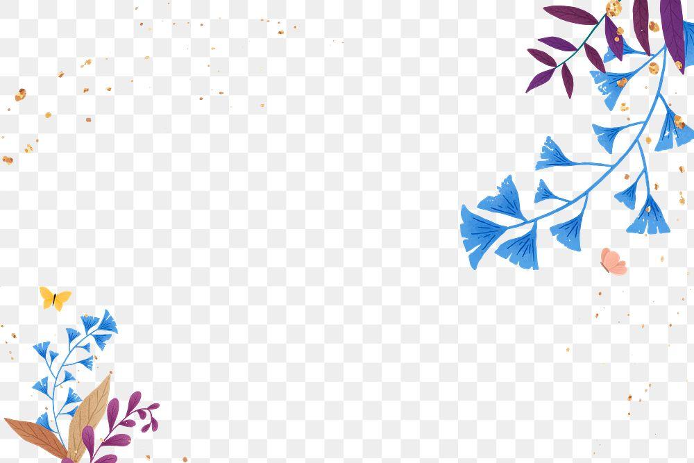 Png ginkgo leaf glitter frame design