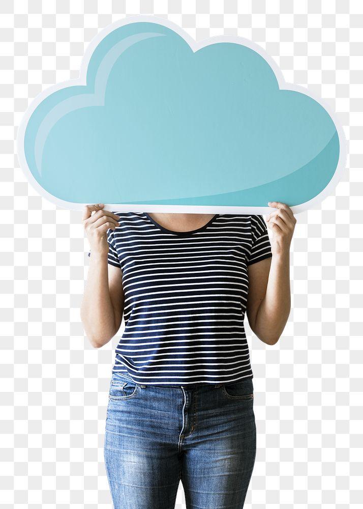 Woman holding a computing cloud transparent png