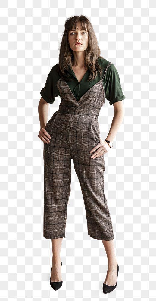 Confident woman in a plaid jumpsuit  transparent png