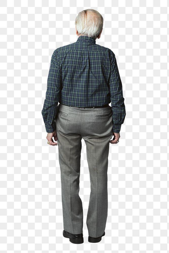 Rear view of a senior man in a tartan scott shirt mockup