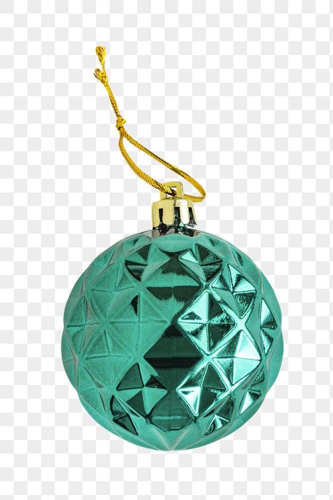 A shiny green ball Christmas ornament on transparent