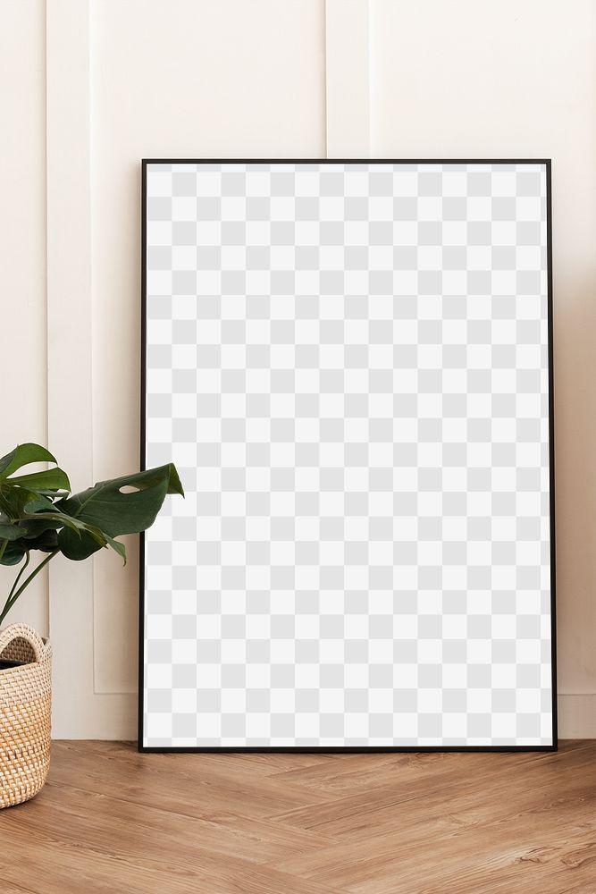 Blank picture frame on parquet floor design element