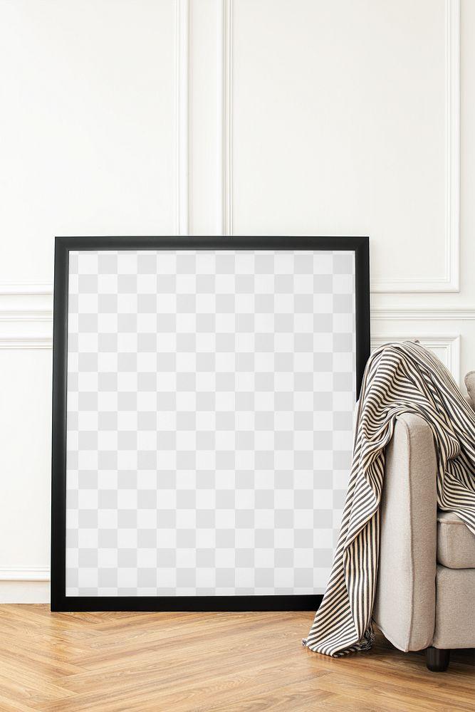 Frame png mockup in a Scandinavian decor living room
