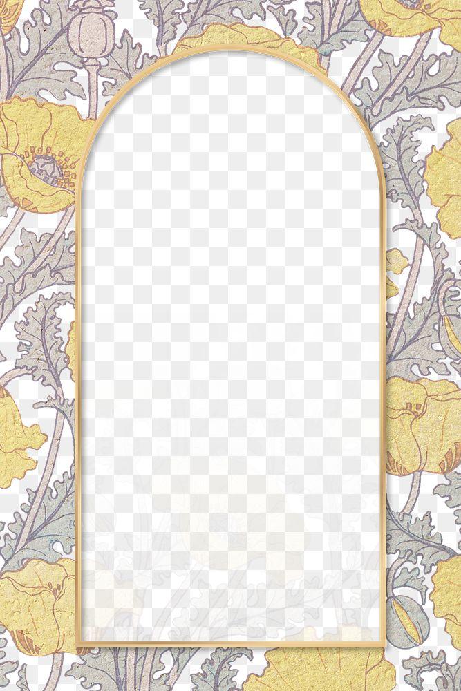 Vintage poppy flower frame transparent png design element