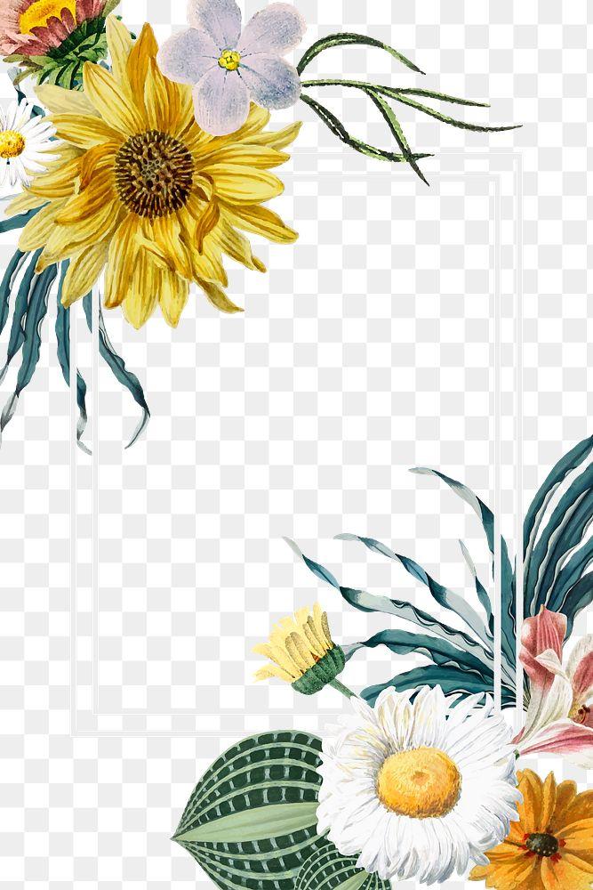 Elegant floral png border colorful