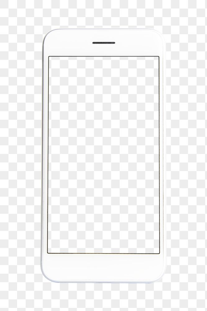 White cellphone screen mockup transparent png