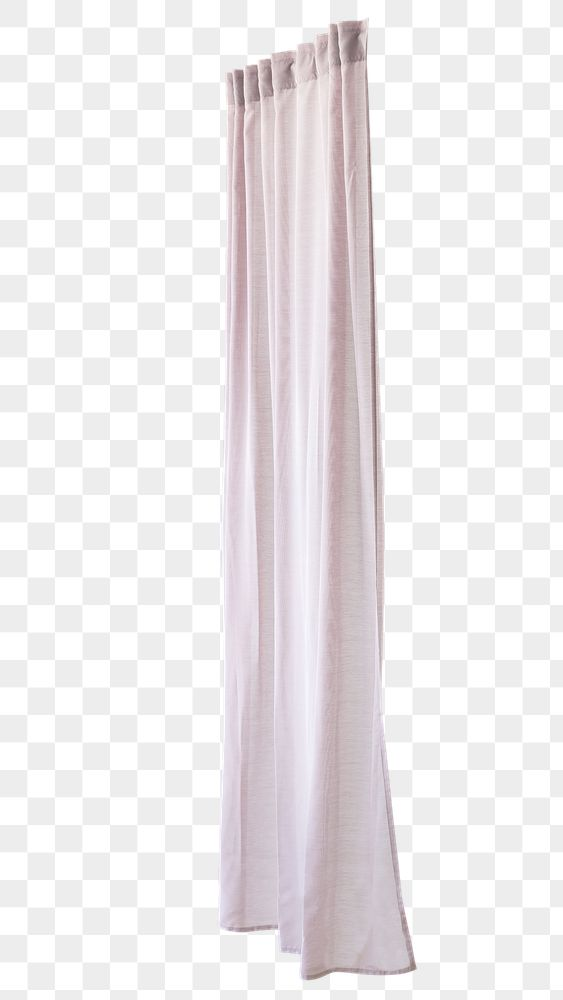 Pink drapery hanging from a curtain rod design element