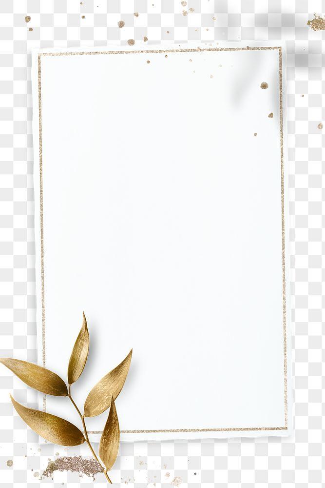 Golden olive leaves with rectangle frame design element