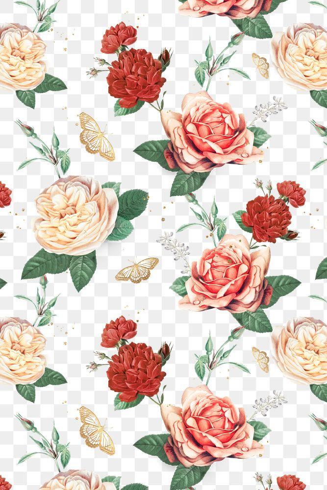 Elegant roses Valentines pattern png transparent background