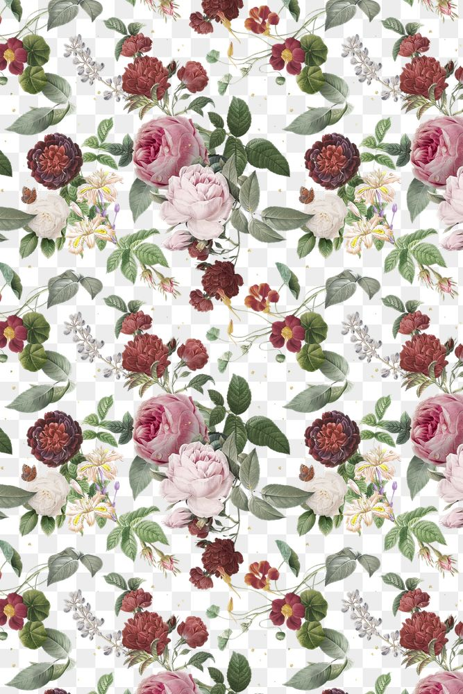 Pink roses and peony png floral pattern vintage illustration