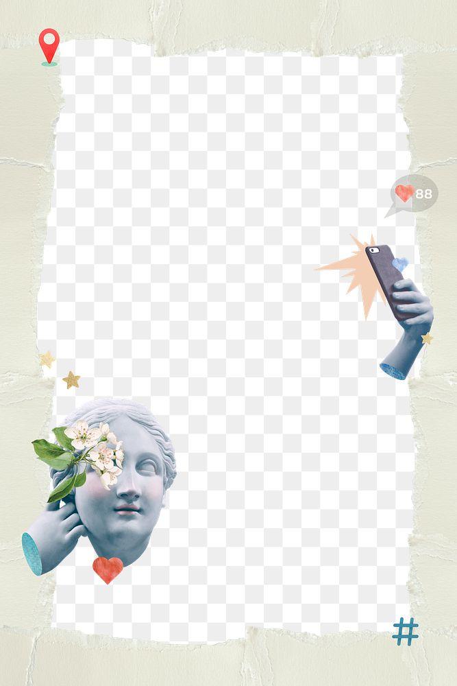 Png selfie goddess statue frame green social media collage
