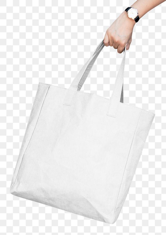 Png white paper bag mockup on transparent background