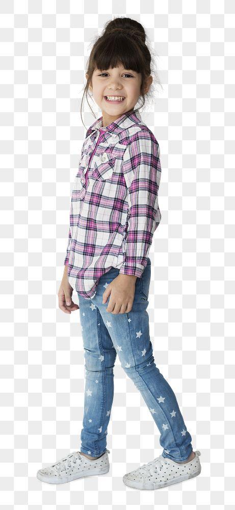 Little girl wearing a plaid shirt transparent png