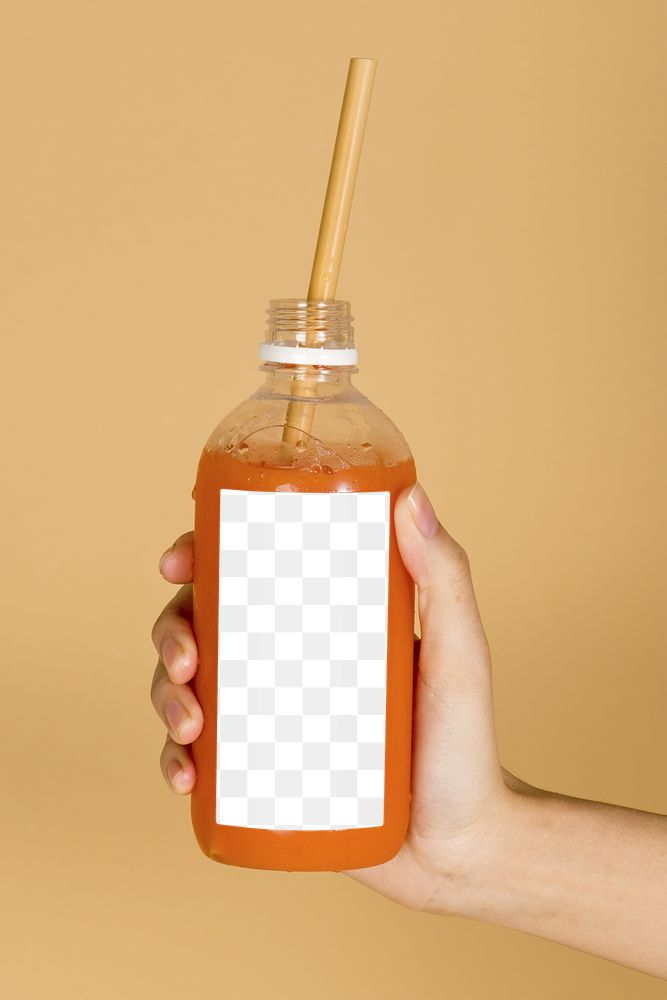 Carrot juice in a bottle with a mockup label