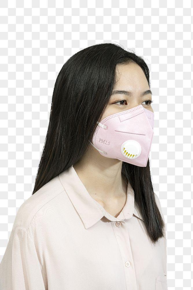 Asian woman wearing a mask mockup transparent png