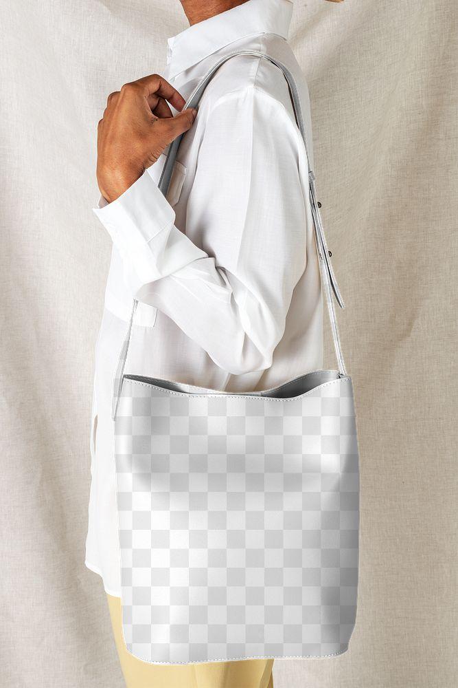 Black woman carrying a shoulder bag mockup