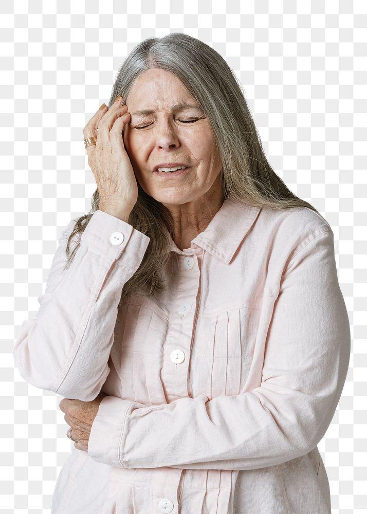 Sick senior woman having a headache during coronavirus pandemic