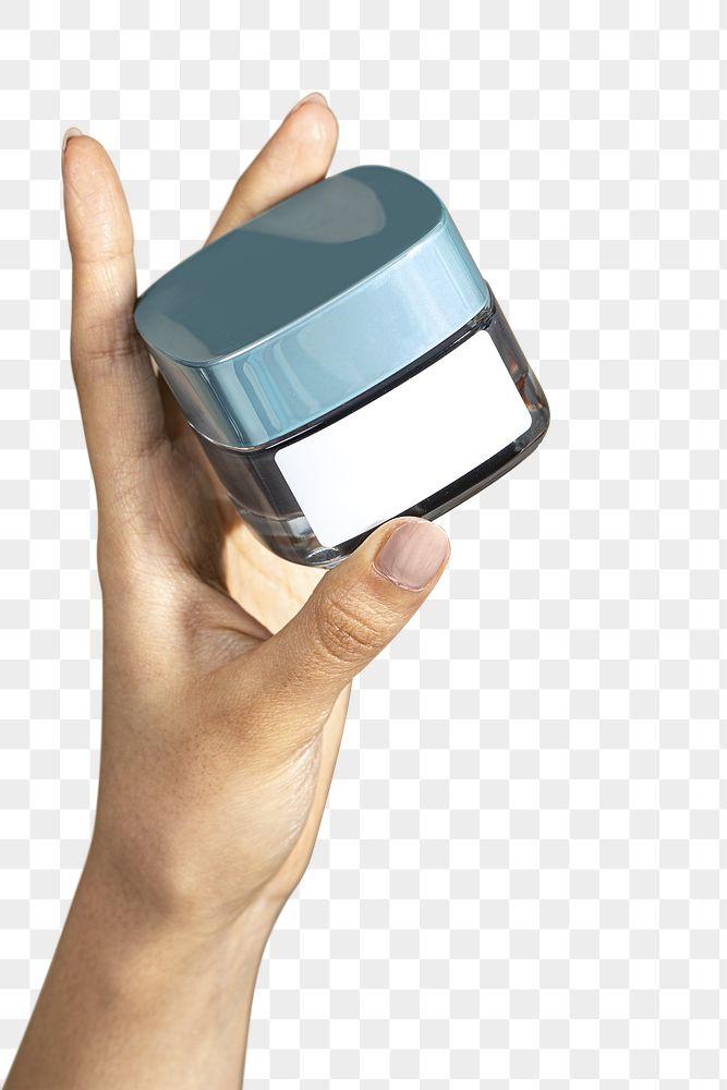 Hand holding face cream jar mockup transparent png