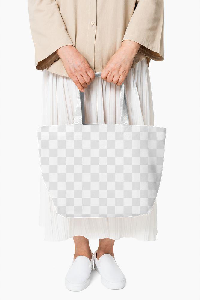 Canvas tote bag png mockup transparent casual apparel close up