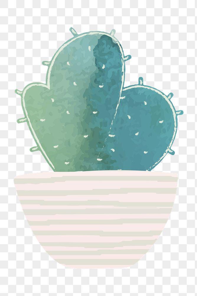 Watercolor cactus pot sticker
