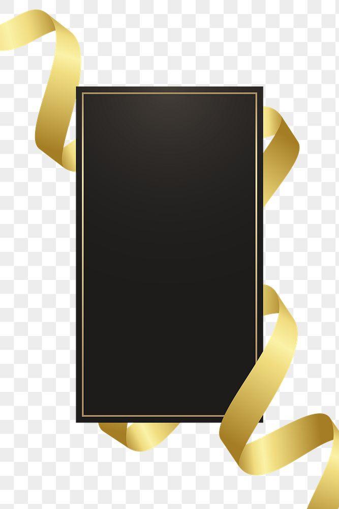 Black rectangle frame with gold ribbon transparent png