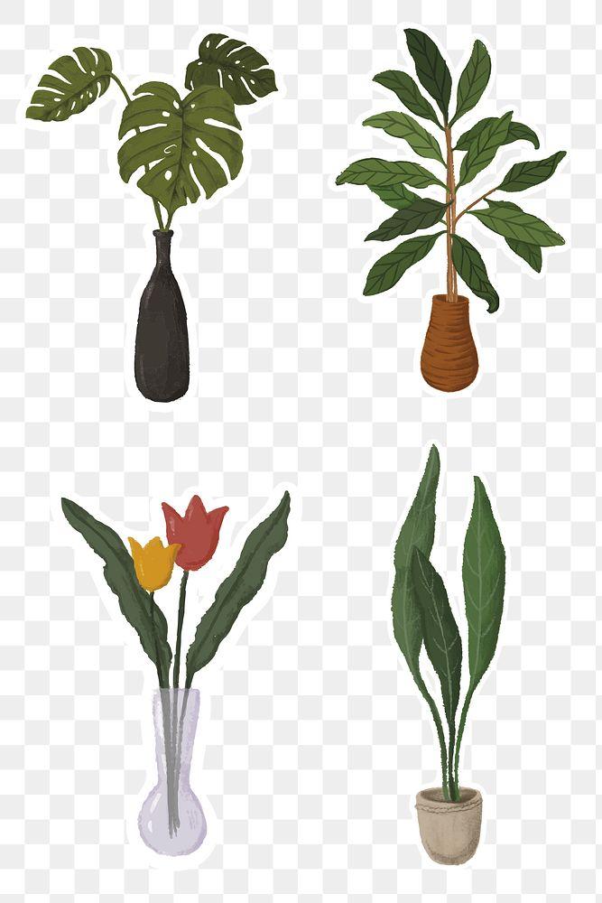 Indoor plants sticker collection