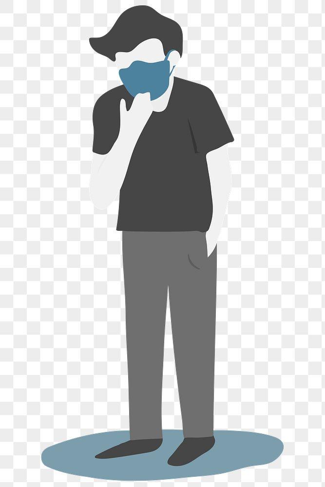 Sick man wearing a protective face mask transparent png