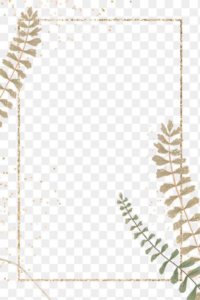 Gold leaves png frame design