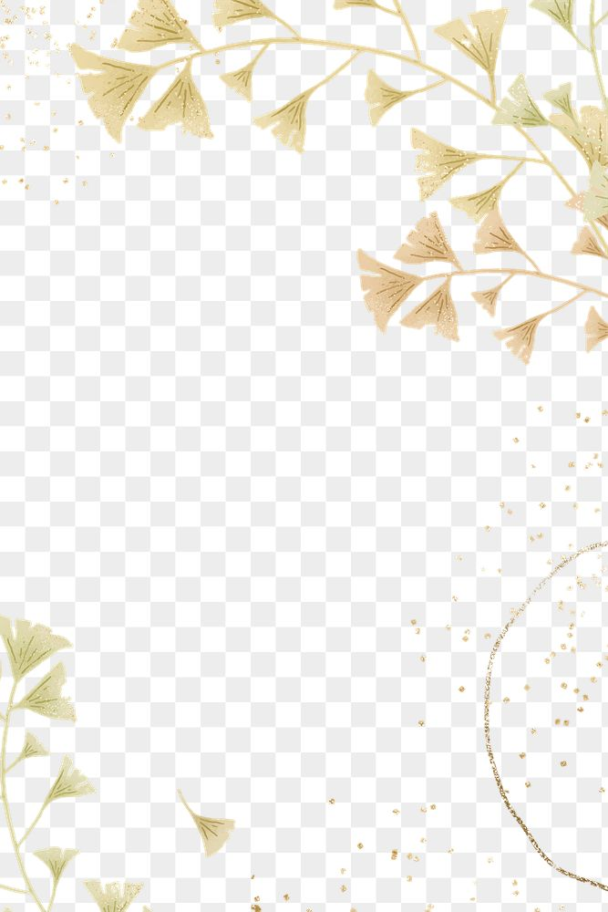 Ginkgo leaves png glitter frame design