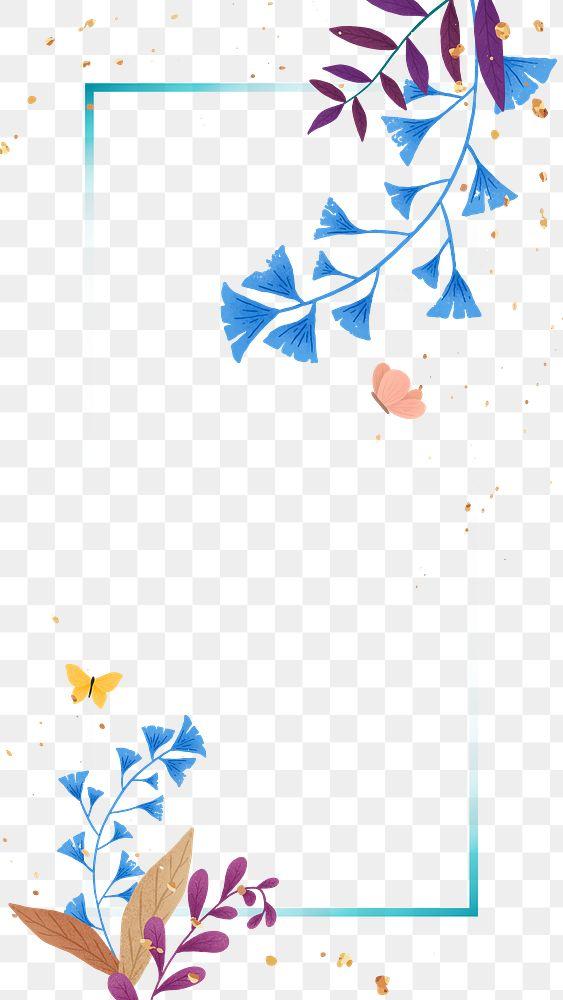 Ginkgo leaf png on blue frame