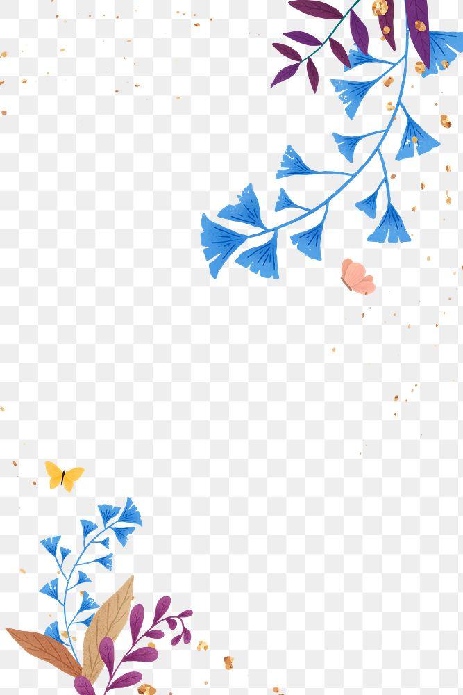 Png ginkgo leaves glitter frame design