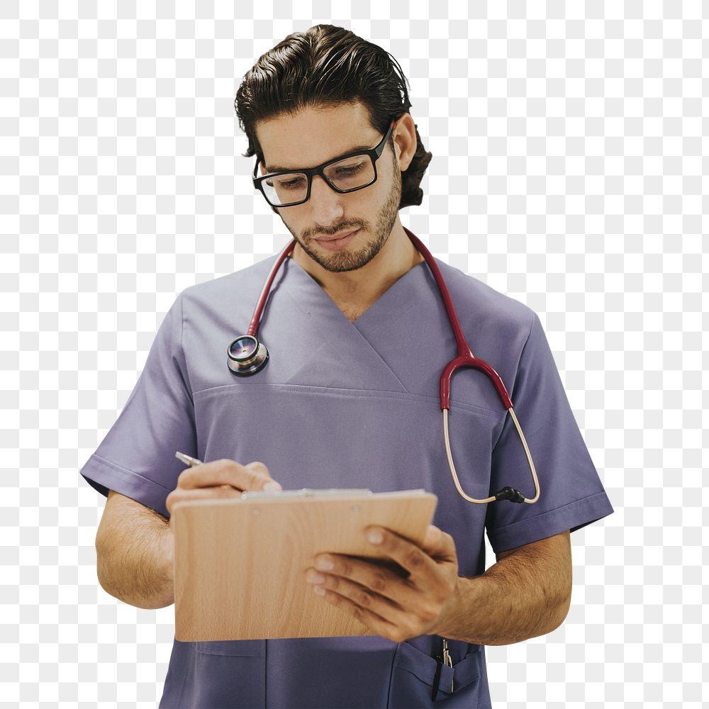 Covid-19 medical hero writing on a clipboard mockup
