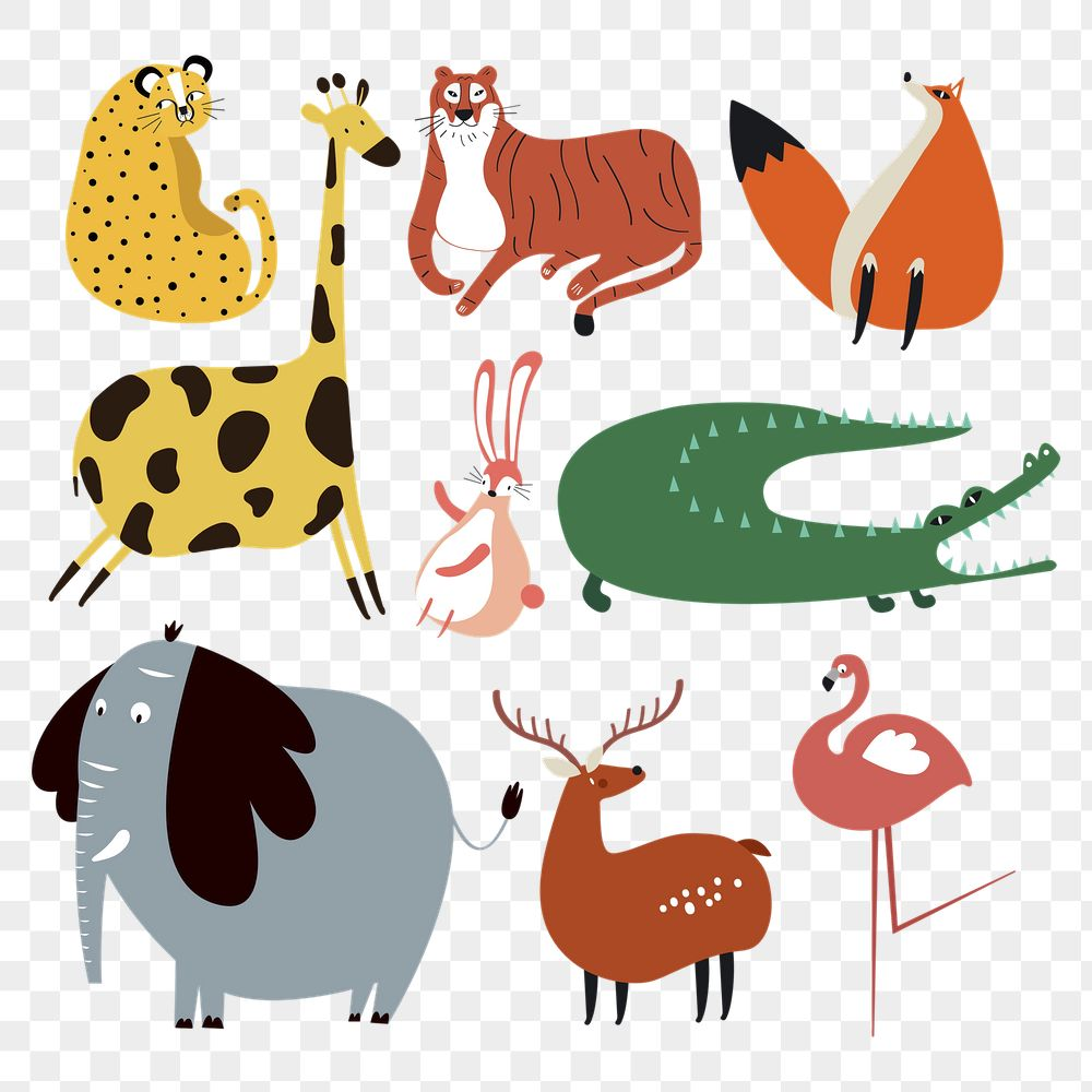 Wild animals png colorful cute stickers doodle cartoon set