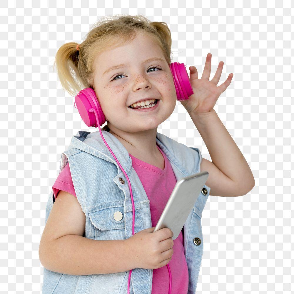 Cute little girl wearing pink headphones transparent png