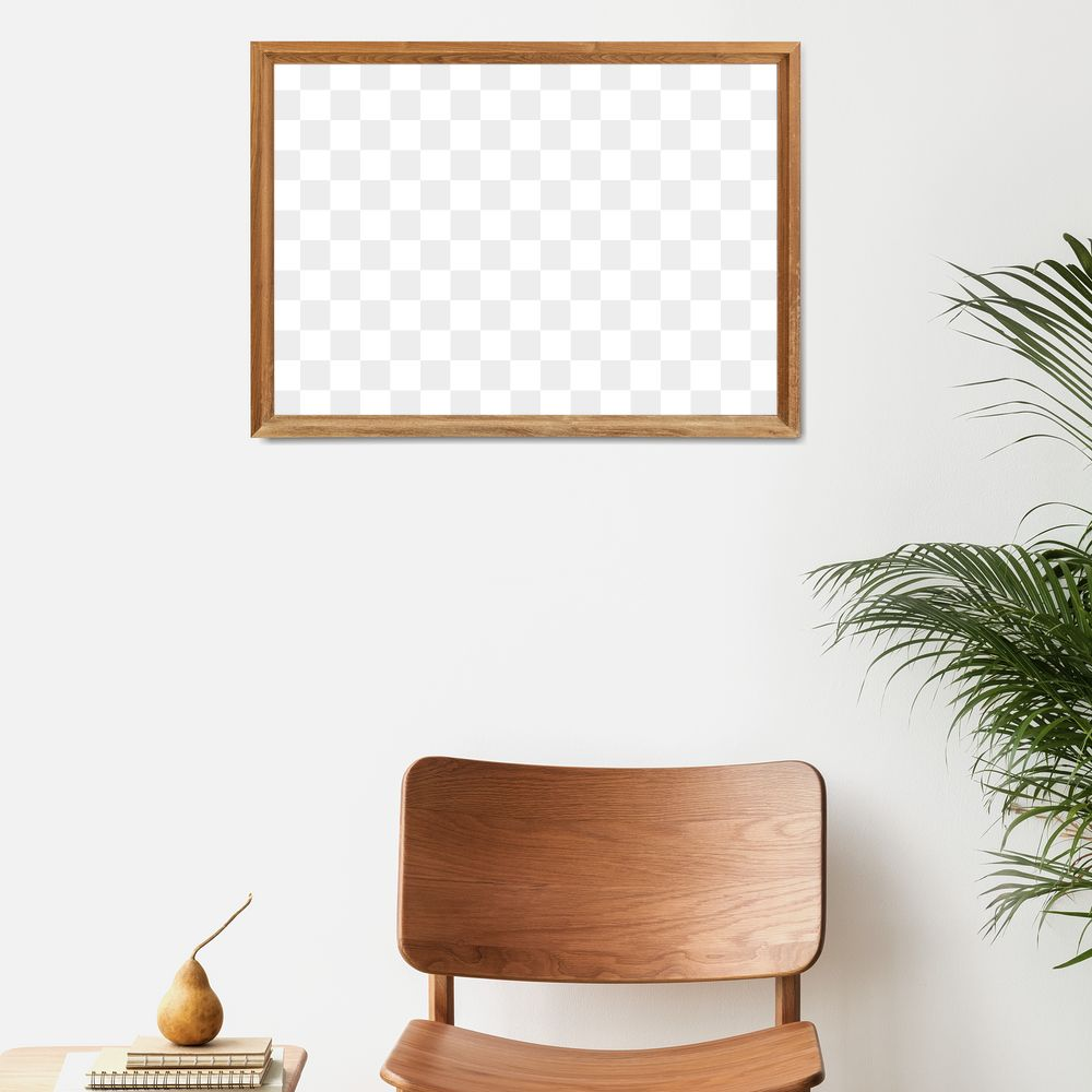 Picture frame mockup hanging above a classic wooden chair
