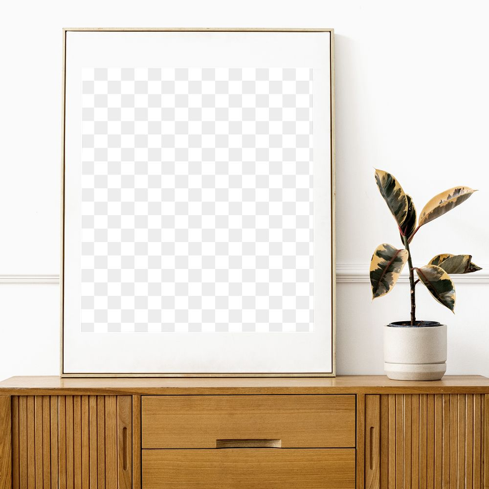 Picture frame mockup on a wooden sideboard table
