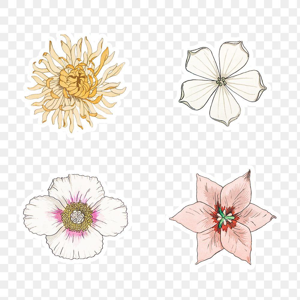 Vintage flower sticker with white border set design element