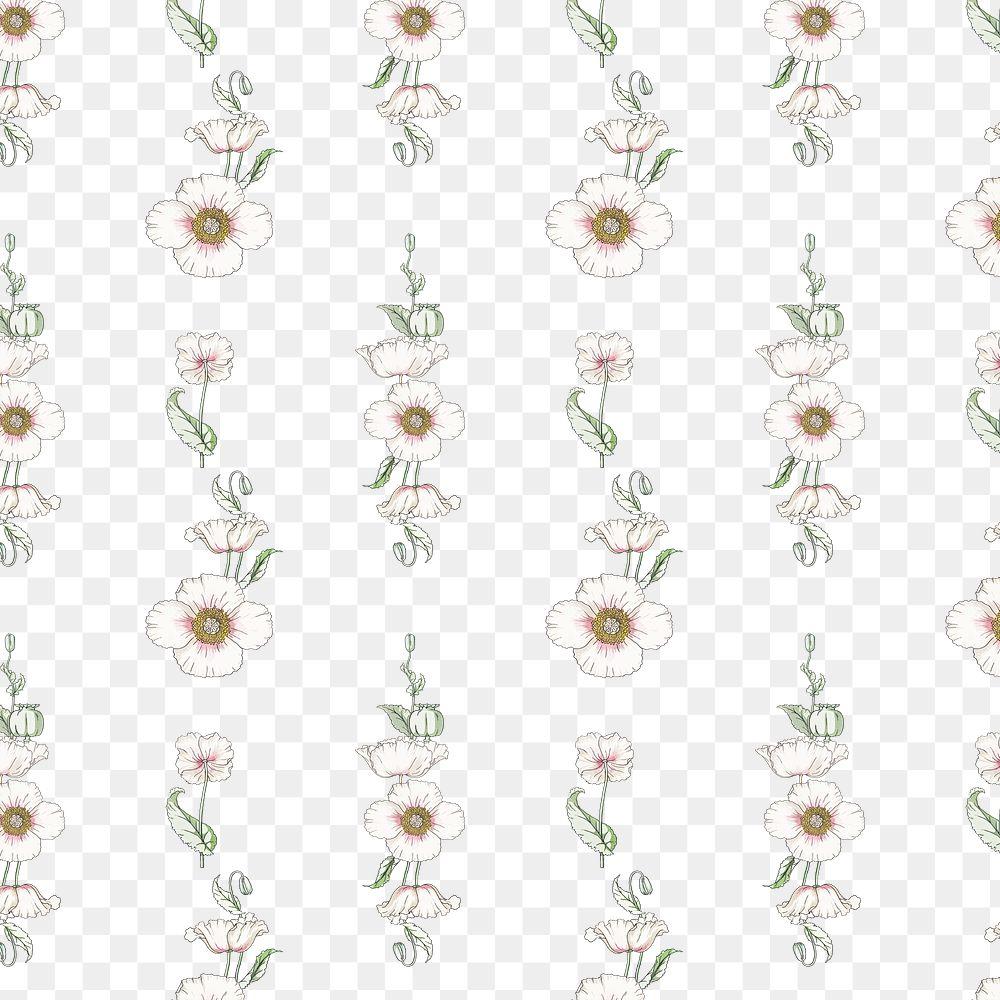 Vintage poppy flower pattern transparent png design resource
