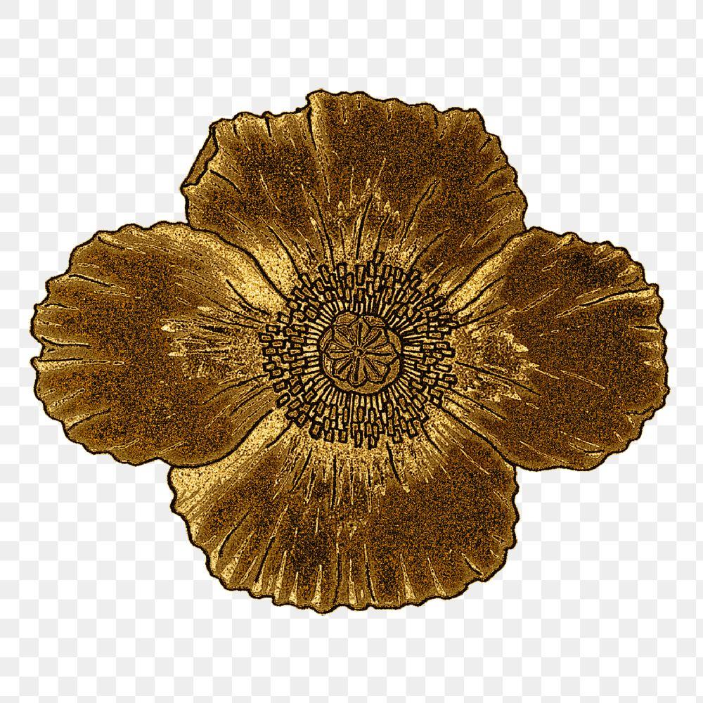 Vintage gold poppy flower transparent png design element