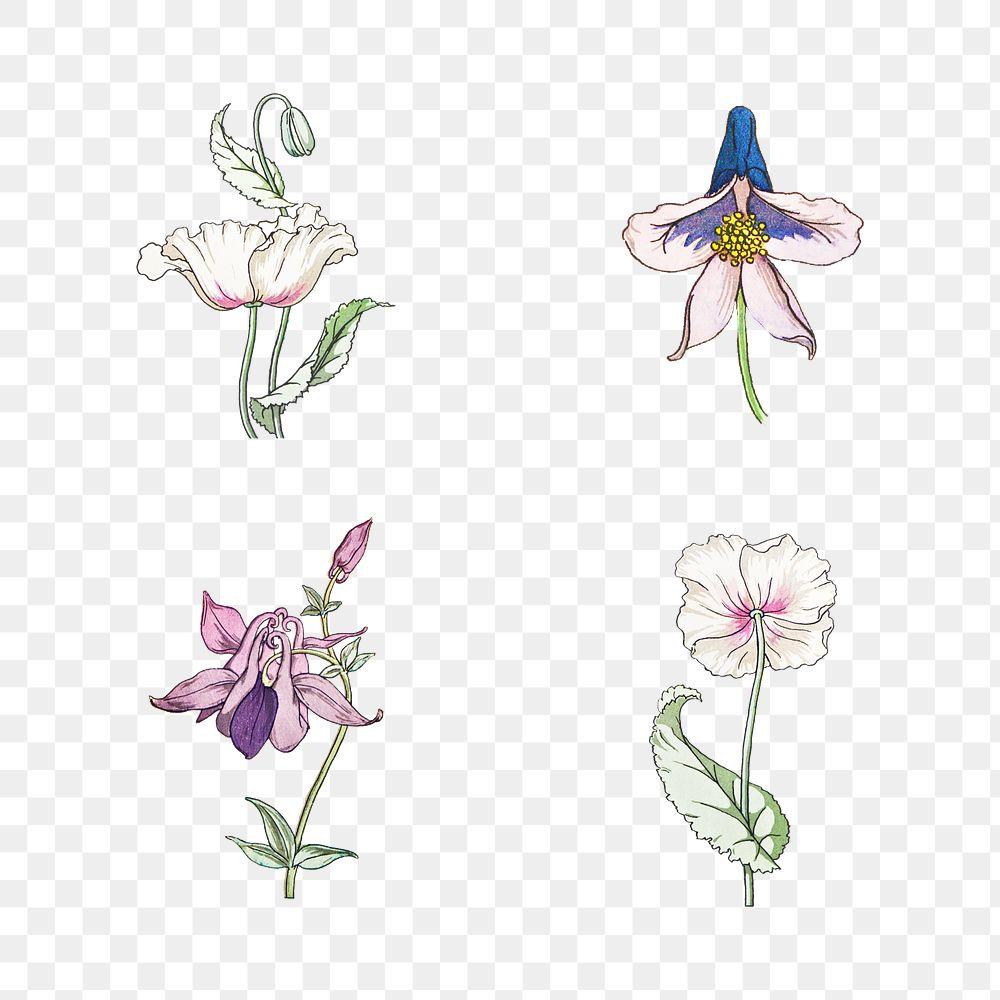 Vintage flower set transparent pngdesign element