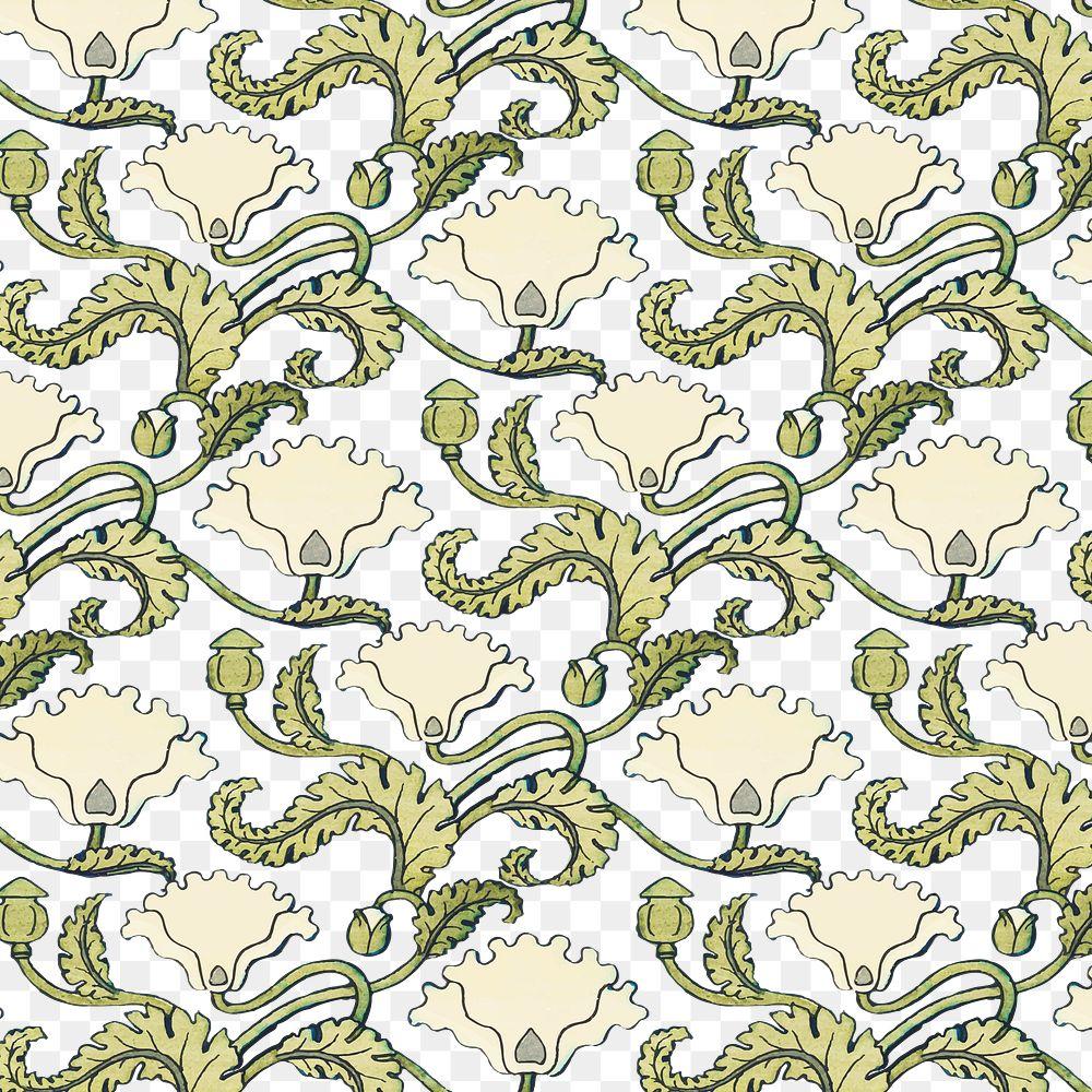 Art nouveau poppy flower pattern transparent png design resource