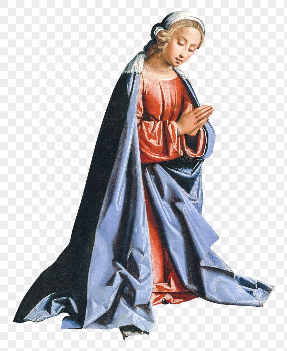 A woman kneeling and praying transparent png